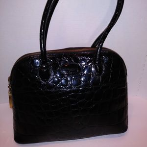 Russell & Bromley Bags - Russell & Bromley Black Crocodile Embossed Bag